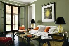 Living room color scheme. Dark trim and a green color