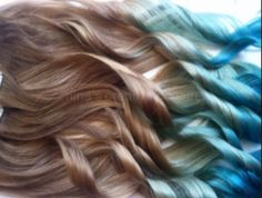 Brown to blonde to blue ombré