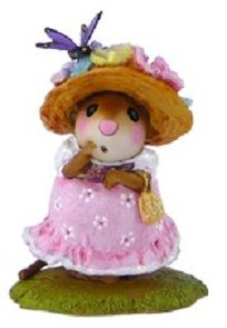 """Petit Papillion M-503 by Wee Forest Folk® The girl with the butterfly hat! Butterflies are a symbol of rebirth, evolution, beauty and more - perfect for spring! Available in pink or blue. Sculpted by Willy.   Item: #M-503 Year Issued: Mar. 2014 Size: 1.5"""" x 1""""   We offer free shipping on all Wee Forest Folk and the Wee Forest Folk 5/6 Discount Club (excluding store specials)."""