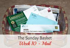 The Sunday Basket: Week 10 – Mail – Organize 365 – – 2019 - Paper ideas Organizing Paperwork, Organization Skills, Clutter Organization, Paper Organization, Organising, Organization Ideas, How To Get Better, Paper Clutter, Working Moms
