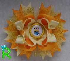 Minion hair bow Yellow Boutique Bow  layered by RoshelysBowtique