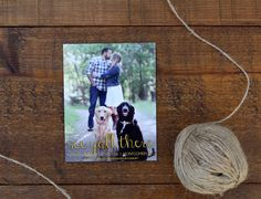 Save the date magnet with dog photo and gold calligraphy #gold #wedding #custom #design #graphicdesign #savethedate #savethedatecard #engagementphotos #engaged