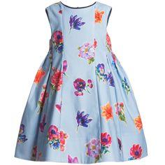 Simonetta Blue Cotton Floral Dress at Childrensalon.com