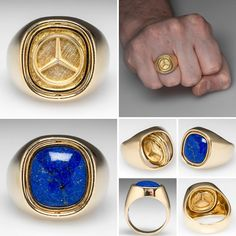 Mens Mercedes-Benz Flip Ring w/ Lapis Lazuli Heavy Gold Mens Gold Jewelry, Black Hills Gold Jewelry, Clean Gold Jewelry, Man Jewelry, Men's Jewellery, Mens Diamond Stud Earrings, Black Stud Earrings, Watch Jewelry Box, Carat Gold