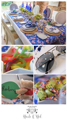 Be inspired by this fun Australia Day Party Table Setting. Complete with ideas for your food menu, invitations, placecards, decorations, treats as well as a free printable Australian song book. Australian Party, Australian Food, Australia Day Celebrations, Aus Day, Leaving Party, Usa Party, Aussie Food, Aussie Christmas, Perth Australia