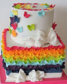 Woah! Beautiful cake! Need to pin for Teagan. Rainbow frills & butterflies — Birthday Cakes