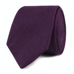 Men's Skinny Ties 6CM Purple Plum Slub Linen Skinny Tie by OTAA
