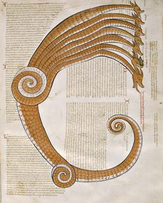 The Seven Headed Dragon by Joachim of Fiore: Liber Figurarum, c. 1250, Atlante dell'arte italiana