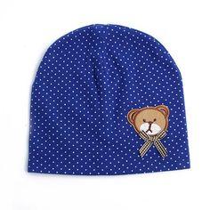 Cute Polkadot Bear Beanie Hat for Babies