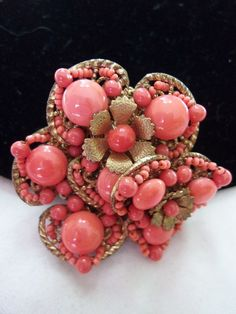 MIRIAM HASKELL Pin Brooch Vintage 1950s Red Glass Bead Gold Plate  #MiriamHaskell