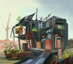 For personal amusement. Inspired by the book Ready Player One! Building Concept, Building Ideas, Small Buildings, Post Apocalypse, Environment Concept, Bounty Hunter, Environmental Art, Concept Art, Scrap