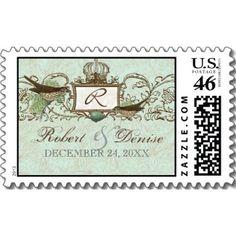 Vintage Birds Robin's Egg Blue - Wedding Postage stamp
