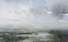 View from the Chilterns.  #Paintings | #England | #ChrisRobinson #Watercolour #paintings