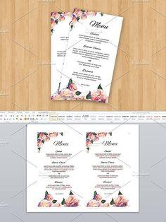 Wedding Menu Card Template. Photoshop Brushes. $6.00