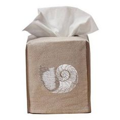 This Pearl Nautilus embroidered natural linen Tissue Box Cover slides easily over the standard sized US cube. A delightful accent for your bathroom, bedroom, kitchen or office. ($33)