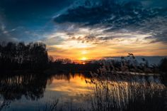 Sunrise Over Lake With Reeds