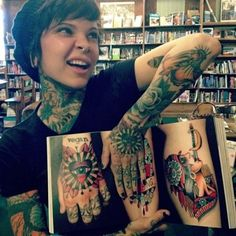 Heavily tattooed - throat, hand, knucks - LOVE!