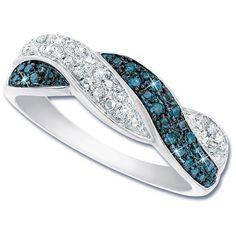 Blue Diamond Swirl Ring