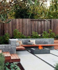 Top 50 Best Patio Firepit Ideas - Glowing Outdoor Space Designs Small Backyard Gardens, Modern Backyard, Small Backyard Landscaping, Landscaping Ideas, Terraced Backyard, Small Patio, Garden Modern, Backyard Pools, Small Yards