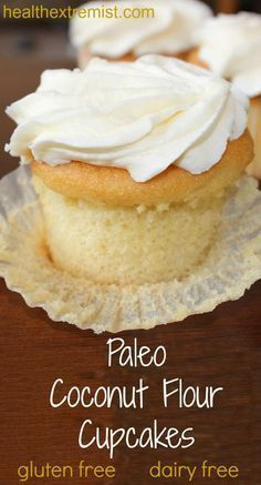 Vanilla Paleo Cupcakes Recipe (Gluten-free and Dairy-free). Soft and fluffy cupcakes! Made with just coconut flour! Vanilla Paleo Cupcakes Recipe (Gluten-free and Dairy-free). Soft and fluffy cupcakes! Made with just coconut flour! Paleo Cupcakes, Gluten Free Cupcake Recipe, Dairy Free Recipes, Coconut Cupcakes, Gluten Free Coconut Cake, Dairy Free Cupcakes, Baking With Coconut Flour, Paleo Cake Recipes, Coconut Flour Cookies