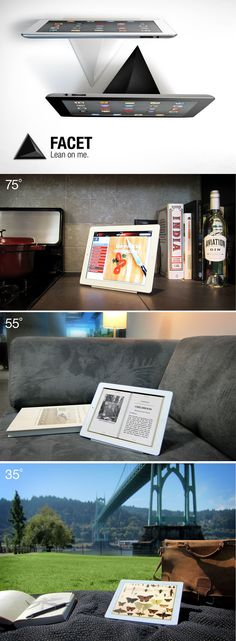 FACET, a unique ipad stand designed for work, play and everything in between. $30. Support the project on Kickstarter: http://www.kickstarter.com/projects/ilovehandles/facet-multi-angle-magnetic-ipad-stand