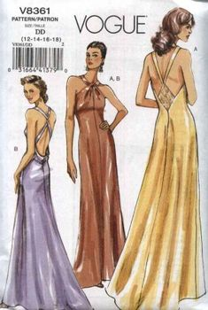 Vogue 8361 Misses Formal Evening Gown Sewing Pattern Misses Size Evening Gown Sewing Pattern Floor Length Evening Dress Pattern Formal Dress Patterns, Vogue Dress Patterns, Vogue Sewing Patterns, Vogue Wedding Dress Patterns, Pattern Sewing, Pattern Dress, Vintage Evening Gowns, Long Evening Gowns, Vintage Dress