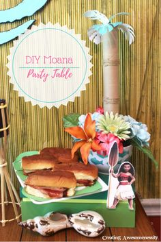Moana is the Hawaiian heroine in the Disney line up and she is making waves! Check out this easy party celebrating her spunk and exciting adventures! Moana Birthday Party Theme, Moana Theme, Disney Princess Birthday, Moana Party Decorations, Birthday Party Decorations, Birthday Ideas, 5th Birthday, Tiki Party, Luau Party