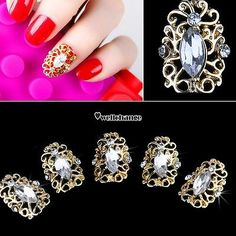 5Pcs Bling Crystal Rhinestones 3D Ful Nail Art Tips Glitters Decoration DIY W3LE