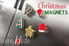 These merry magnets are a snap to make and ideal for hanging the kiddies' holiday art. (vixenMade)