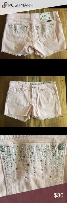 Miss Me Shorts Miss Me Pink Shorts. Light Pink. Like New Condition. Size 29. Sparkles on back pockets are shown in the pictures. Miss Me Shorts Jean Shorts