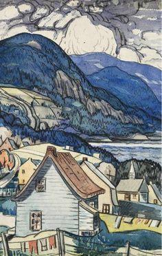 Marc-Aurèle Fortin, Saint-Siméon (détail), 1938. Aquarelle et fusain sur papier, 48,8x61 cm. Collection MNBAQ. (c)