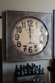 attic - Large Square Station Clock -