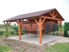 Best Pergola and Pavilion Design Ideas for Your Backyard Diy Pergola, Carport Patio, Carport Plans, Backyard Gazebo, Backyard Patio Designs, Backyard Landscaping, Carport Ideas, Wooden Pavilion, Glass Pavilion