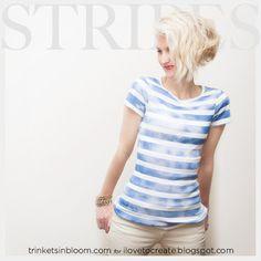 iLoveToCreate Blog: DIY Camiseta a rayas con pintura de aerosol