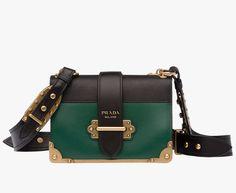 abad22310323 Prada Woman - Prada cahier bag - Billiard green + black -  1BD045 2BB0 F0KBH V OCH Prada Small Bag