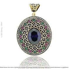 Gümüş Ametist Taşlı Osmanlı Motifli Otantik Kolye