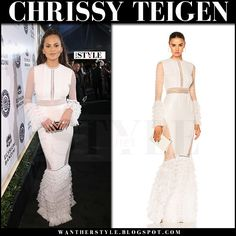 Chrissy Teigen in white lace tiered gown