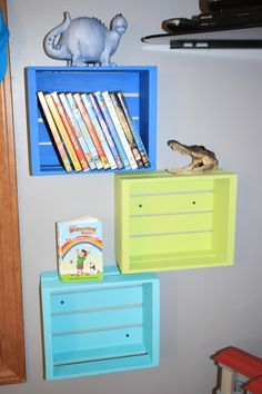DIY DVD storage-wooden crates that I bought @ Michael's, sanded & painted