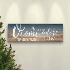O Come Let Us Adore Him Personalized 6 inch x 18 inch or 9 inch x 27 inch Canvas, Size: 9 x Brown Christmas Bathroom, Christmas Wood Crafts, Gold Christmas Decorations, Merry Christmas Sign, Christmas Signs Wood, Holiday Signs, Homemade Christmas Gifts, Rustic Christmas, Christmas Art