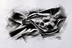 Kresba lehce abstraktního aktu #charcoal #akt #portrait