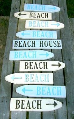 Beach Signs made from picket fence- note any direction you go you get to the right place...