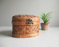 Woven Box with Hinged Lid Chinese Basket Box Vintage by gazaboo