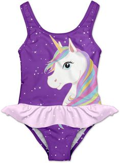 Violet Unicorn Skirted One-Piece - Newborn, Infant, Toddler & Girls (ad) Infant Toddler, Toddler Girls, Kids Girls, Little Girls, Bathing Suits One Piece, Girls Bathing Suits, Little Girl Fashion, Kids Fashion, Unicorn Swimsuit