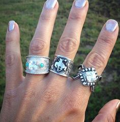 Turquoise Jewelry Ring I do really love the one on the far left too, with a little bigger/squared moisonite. You know I do love turquoise - Cowgirl Bling, Cowgirl Jewelry, Western Jewelry, Cowgirl Style, Western Style, Western Wear, Country Jewelry, Western Outfits, Cute Jewelry
