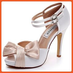 d9c503e3b67b50 LUXVEER White and Champagne Wedding Sandals with Bowknot 4 inch Heels