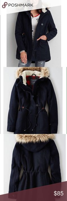 AE parka jacket🌨❄️ New w/ tags! Never wore it b/c it doesn't get cold enough where I live... The navy blue parka is very thick w/ lining inside to keep you warm during those cold cold weather! Has a faux fur hood that is not detachable. Buttoned and zipper closure. Draw string around the waist to add some shape😘 has DEEP lower patch pockets. 51% recycled wool,45% polyester,2% viscose, 1% acrylic, 1% nylon. Measurements: 21in bust, 18in waist, length: 31in. Any questions or whatnots please…