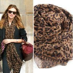 Lady Shawl Silk Chiffon Scarf winter scarf for women/girl scarf Print Chiffon, Silk Chiffon, Panther, Light Scarves, Silk Scarves, Leopard Print Scarf, Leopard Prints, Long Scarf, Scarf Styles