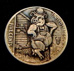 "Hobo Nickel ""My Piece of The Pie"" Mini Man ""Pig"" Reverse Carving Howard Thomas | eBay"