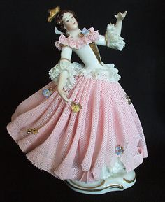 Lovely German Dresden Lace Victorian Lady Figurine Porcelain Lace Figural | eBay