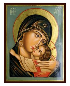 Hand-Painted Icon of Virgin Eleusa with Child (by Rublev) Religious Images, Religious Icons, Religious Art, Christian Drawings, Christian Artwork, Blessed Mother Mary, Blessed Virgin Mary, Church Icon, Paint Icon